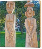 Wooden Sculptures In Central Park In Bariloche-argentina Wood Print