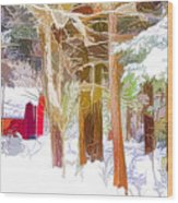 Wooden Shed In Winter Wood Print