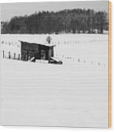 Wooden Stable In Winter Landscape Wood Print