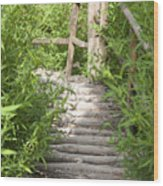 Wooden Stairs Wood Print