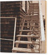 Wooden Stairs In Sepia Wood Print