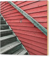 Wooden Steps Against Colourful Siding Wood Print