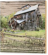 Wooden Water Mill Wood Print