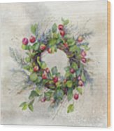Woodland Berry Wreath Wood Print