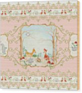 Woodland Fairy Tale - Blush Pink Forest Gathering Of Woodland Animals Wood Print