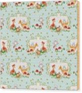 Woodland Fairy Tale - Sweet Animals Fox Deer Rabbit Owl - Half Drop Repeat Wood Print