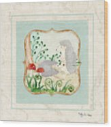 Woodland Fairy Tale - Woodchucks In The Forest W Red Mushrooms Wood Print