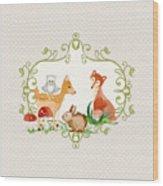 Woodland Fairytale - Grey Animals Deer Owl Fox Bunny N Mushrooms Wood Print