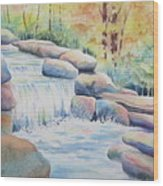 Woodland Falls Wood Print
