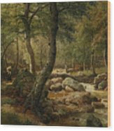 Woodland Stream Wood Print