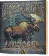 Woodlands Moose Sign Wood Print