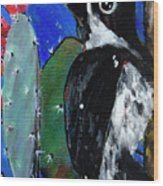 Woodpecker With Prickly Pear Cactus  Wood Print