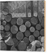 Woodpile Wood Print