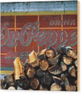 Woodpile With Taste - Dr Pepper Rustic Antique Red Country Southwest Wood Print