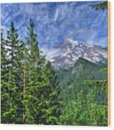 Woods Surrounding Mt. Rainier Wood Print