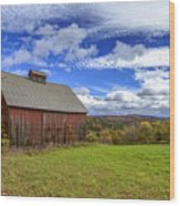Woodstock Vermont Old Red Barn In Autunm Wood Print