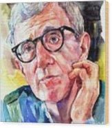 Woody Allen Portrait Painting Wood Print