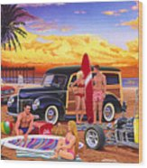 Woody Beach Wood Print