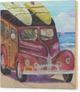 Woody On Beach Wood Print