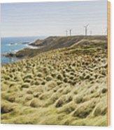 Woolnorth Wind Farm And Ocean Landscape Tasmania Wood Print