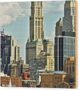 Woolworth Building From Hudson River Wood Print