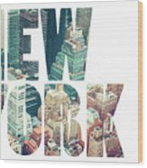 Word Usa Manhattan Skyline At Sunset, New York City  Wood Print