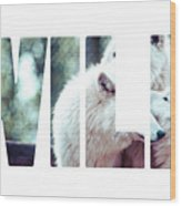 Word Wild Arctic White Wolf  Wood Print