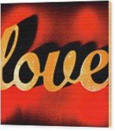 Words Of Love And Retro Romance Wood Print