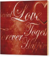 Words Of Love Wood Print