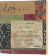Words To Live By Love Wood Print