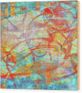 Work 00099 Abstraction In Cyan, Blue, Orange, Red Wood Print