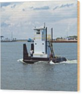 Workboat At Port Canaveral In Florida Wood Print
