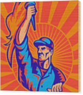 Worker Carrying Flaming Torch Sunburst Wood Print