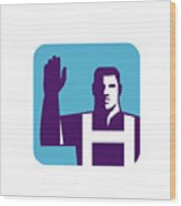 Worker Right Arm Raise To Vote Square Retro Wood Print