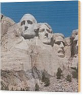 Workers On Mt. Rushmore Wood Print