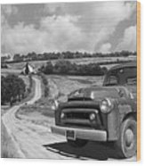 Down On The Farm- International Harvester In Black And White Wood Print