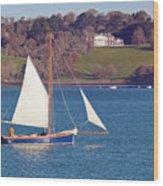 Working Boat At Trelissick Cornwall Wood Print