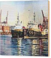 Working Boats -seattle  Wood Print