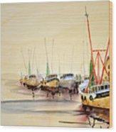 Working Boats Wood Print