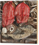 Working Boots Wood Print