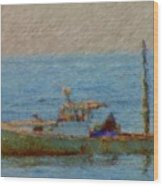 Working Hard Lobster Boat Smugglers Cove Boothbay Harbor Maine Wood Print