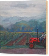 Working The Vineyard Wood Print by Becky Chappell