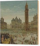 Workshop Of Caullery, Louis De Caulery Circa 1580 - 1621 Antwerp Carnival In Venice. Wood Print