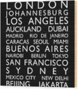World Cities Bus Roll Wood Print
