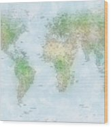 World Cities Map Wood Print