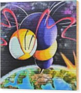 World Color Bee Wood Print