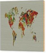 World Map 02a Wood Print