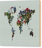 World Map 12b Wood Print