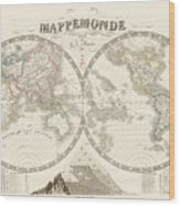 World Map - 1842 Wood Print