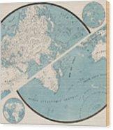 World Map - 1857 Wood Print